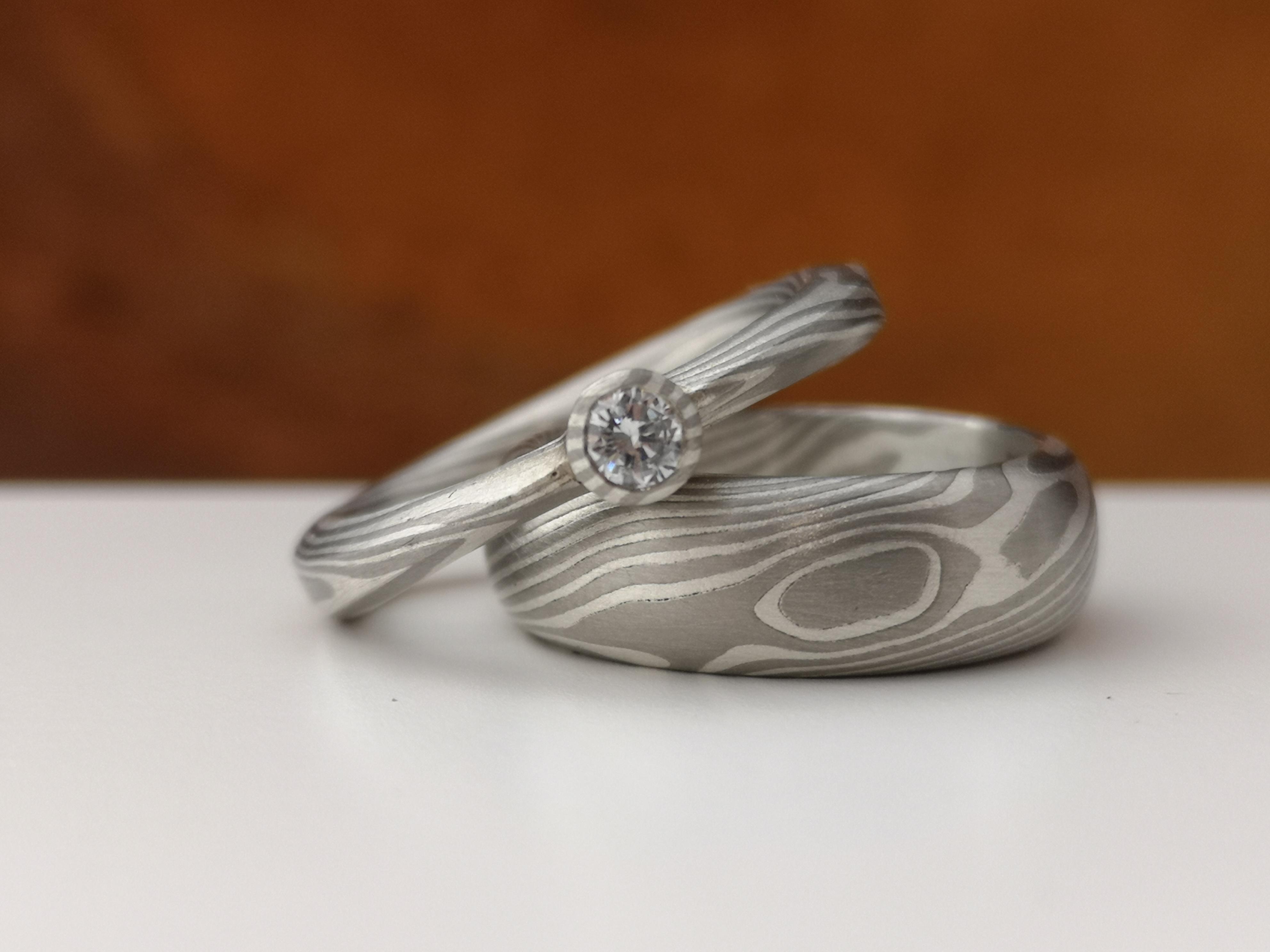 Mokume Gane Ringe Silber Palladium