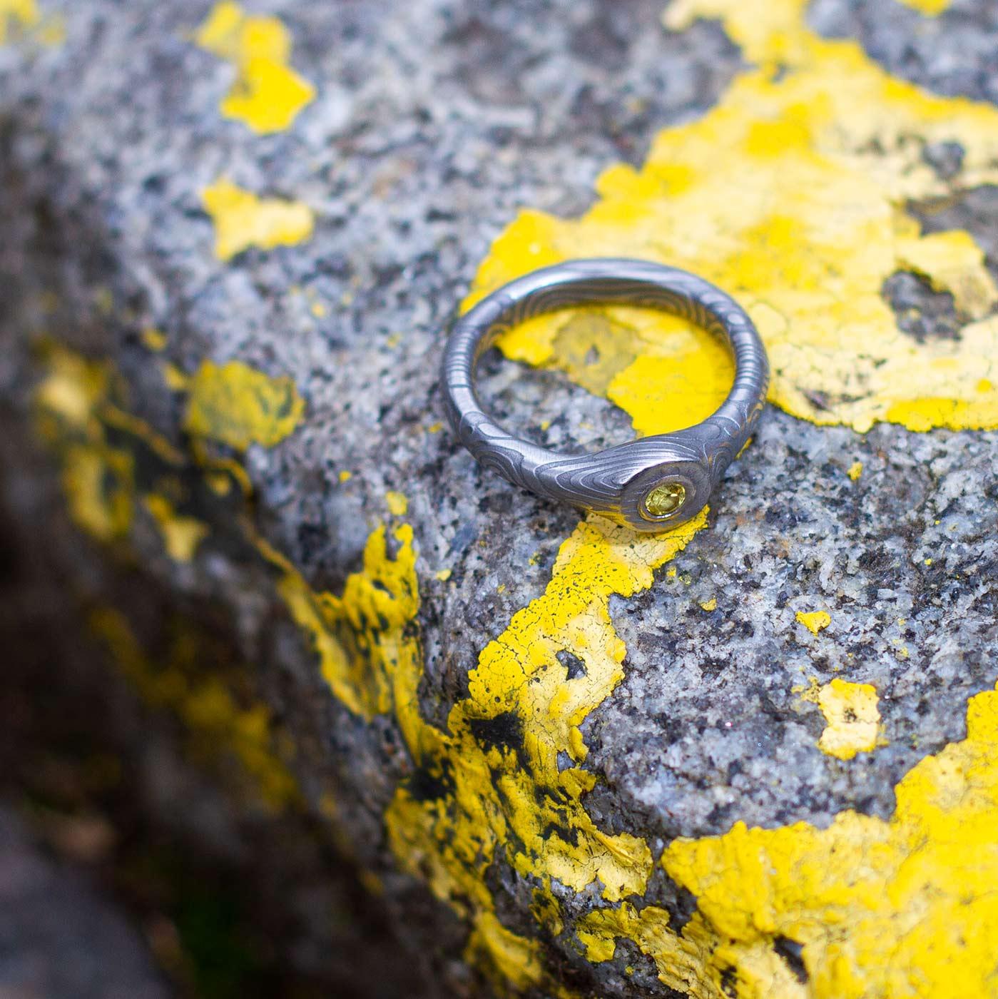 Verlobungsring Damaszener Stahl